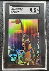 1998-99 Topps Finest No Protectors Refractor Shaquille O'Neal SGC 9.5 Gem 💎