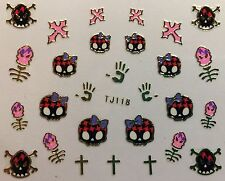 Nail Art 3D Decal Stickers Halloween Skull with Bow Cross TJ118