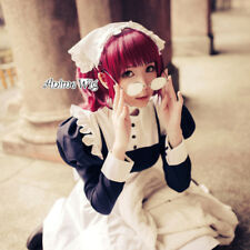 Anime for Black Butler Kuroshitsuji Mey Rin Wine Red Wavy Ponytails Cosplay Wig