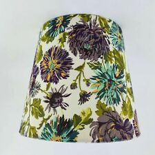 "9"" Uno Fabric Lampshade Vintage Floral Pattern Cream Green Purple Retro"