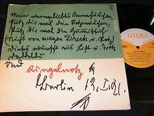 """JOACHIM RINGELNATZ gesprochen von Annemarie Hase / DDR 10""""EP 1964 LITERA 760007"""