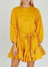 Rhode Resort Ella Voile Yellow Mini Dress Cotton Tiered Kimono M New 206159