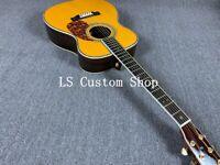 Wholesale ZW-OM42 Solid Top Electric Acoustic Guitar Bone Nut Ebony Fishman