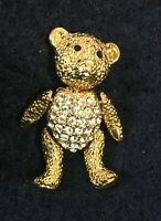 Napier Teddy Bear Pin Goldtone Crystals Articulating Movable Arms Legs Head 1.5""