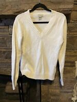 Banana Republic Women's Casual V Neck Knit Sweater Size Large White Long Sleeve