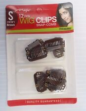"Snap-Comb Hair Wig Clips Small 15/16"" Color Brown, 12-Pack"