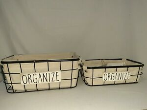 2 NEW Rae Dunn ORGANIZE Black Wire Fabric Lined Nested Baskets