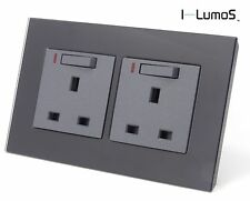 I LumoS AS Luxury Black Glass & Grey 13A Single/Double Sockets & Light Switches