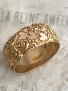 Antique Edwardian 18ct Rose Gold Scroll & Hearts  8mm Band Ring Size O1/2 B1265