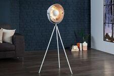 Stehlampe RETRO Vintage Blattsilber Weiß Edelstahl Aluminium Höhe 140cm