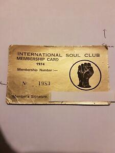 Northern Soul International Soul Club Membership Card 1974