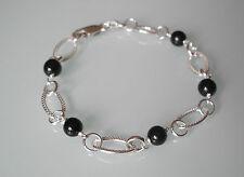Markenloser Echtschmuck aus Sterlingsilber mit Onyx-Perlen