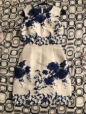Lulu's Fancy Sheath Dress Light Ivory Gray Blue Floral Sz s
