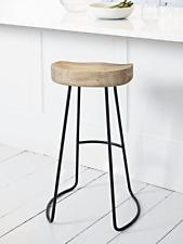 Cox & Cox Weathered Kitchen Bar Oak & Metal Counter Stool - RRP £195
