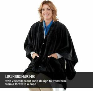 Homedics Electric Heated Throw with Heat Vibration Fleece Washable Faux Fur
