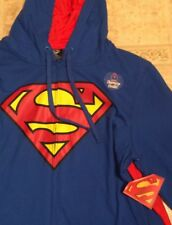 Men's XL DC Comics Superman Super Hero Hooded Sweatshirt Zip Up Hoodie NEW