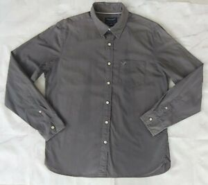 American Eagle Men Large Long Sleeve Button-Down Athletic Fit Shirt Washed Grey