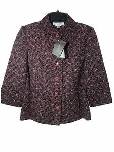 St. John Collection Womens Black/Red Knit Blazer Jacket Size8 $1295 MSRP-NEW USA