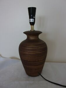 Brown & Gold Ceramic  lamp base, 36cm tall to the very top