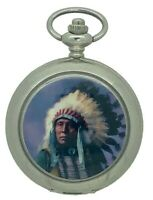 New Native American Indian Silver Tone Quartz Pocket Watch And Chain by WESTIME