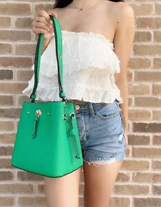 Kate Spade Marti Snow Pea Green Leather Small Bucket Shoulder Bag