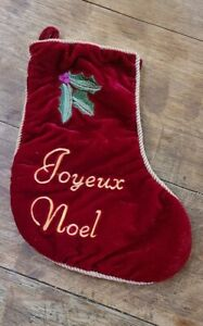 """Vintage Red Velvet Christmas Stocking JOYEUX NOEL Gold Trim 14"""" Lined"""