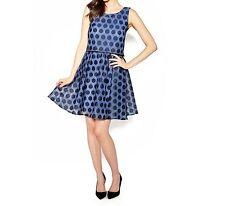 Betsey Johnson Dress Sz 10 Navy Blue Polka Dot Pop Over Cocktail Party Dress