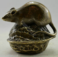 Collectible fengshui Decorated Old Handwork Copper Carved Mouse On Walnut Statue