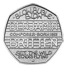 50p FIFTY PENCE BRITISH COINS. Benjamin Britten