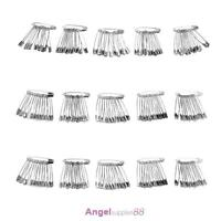 60pcs Silver Tone Metal Stainless Steel Brooch Badge Jewelry Safety Pins