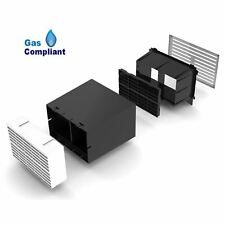 """9"""" x 6"""" Extendable Cavity Wall Sleeve Vent with White Air Brick Ventilator"""