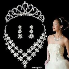 Bridal Wedding Jewelry Set Rhinestone Floral Necklace Post Earrings Tiara Comb