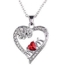 Plata Rojo Cristal Pedrería Corazón Amor Collar Con Colgante De La Madre Day