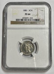 1881 3C Three Cent Nickel Proof (NGC PR64) WE39701BT