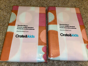 Set of 2 Crate & Barrel Kids Mermaid Mixer Standard Sham Pink Geometric Blue-and
