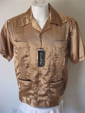 NEW Guayabera Shirt M Light Brown Metallic Satin Classic Cabana Latin Rockabilly