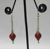 Tribal Regional Sterling silver earring Handmade Asian jewelry Coral stone  DM4