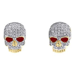 10K Yellow Gold Diamond Skull Head Red Enamel Studs 11mm Pave Earrings 0.22 CT.