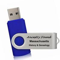 MASSACHUSETTS - History & Genealogy -336 Books on FLASH DRIVE USB -Ancestors MA