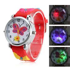 Children Girl Red Butteyfly Wrist Watch Gift for Kids LED Light cute lovely