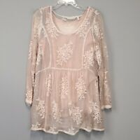 Soft Surroundings silk floral embroidery layered tunic with tank top size medium