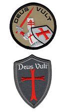Deus Vult Cross Shield ACU christian Templar Knight in God Wills 2PC Hook Patch