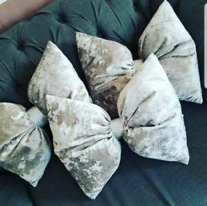 Crush Velvet Handmade Bling Bow Cushion Romany Spanish Any Colour