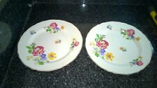 Midwinter Staffordshire England2 x  Floral Patten Side Plates With Gold Rim