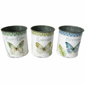Set of 3, Butterfly Metal pots