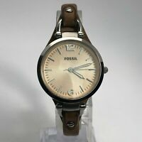 Fossil  Womens ES2830 Silver Quartz Analog Wristwatch Brown Leather Band