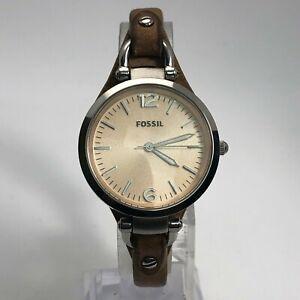 Fossil  Womens ES2830 Silver Quartz Analog Wristwatch Brown Leather Band