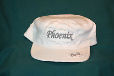 "White Corporal style hat with  ""Phoenix"" embroidered"
