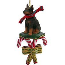 Doberman Pinscher Red Dog Candy Cane Christmas Tree Ornament