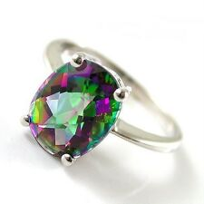 Sterling Silver 925 Oval Green/Purple Genuine Mystic Topaz Ring Sz O.5 (US 7.5)